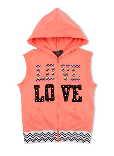 Girls 7-16 Zip Up Hoodie Vest with Chevron Print Love Graphic and Trim,NCORAL,large