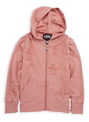 Girls 7-16 Distressed Zip Front Sweatshirt,MAUVE,large