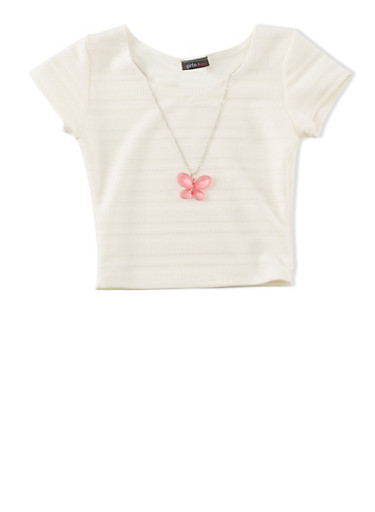 Girls 7-16 Solid Textured Round Neck Top With Removable Butterfly Necklace,IVORY,large