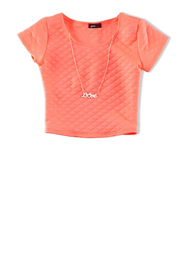 Girls 7-16 Quilted Short Sleeve Top With Removable Love Charm Necklace,NEON PINK,large