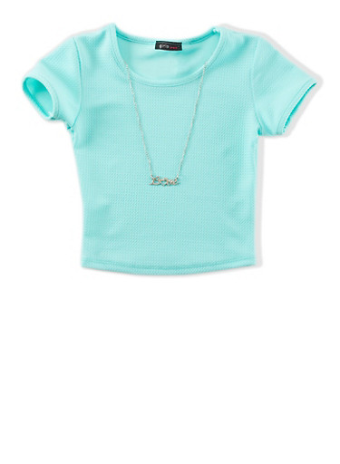 Girls 7-16 Textured Knit Top With Detachable Love Necklace,MINT,large