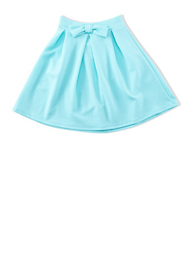 Girls 7-16 Textured Knit Skater Skirt With Waist Bow,MINT,large