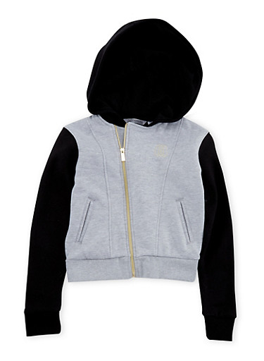 Girls 7-16 Sean John Color Block Fleece Hoodie with Zip Front,BLACK,large