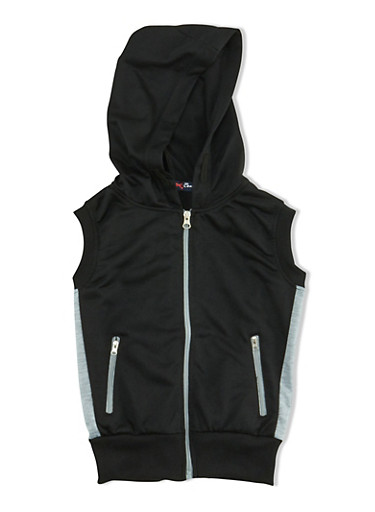 Girls 7-16 Sleeveless Zip Front Hoodie with Zipper Pockets,BLACK,large