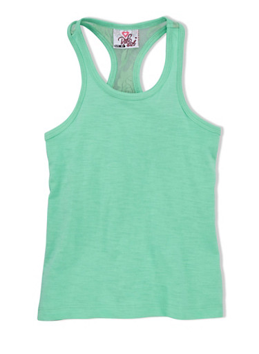 Girls 4-6x Tank Top with Lace-Trimmed Racerback,MINT,large