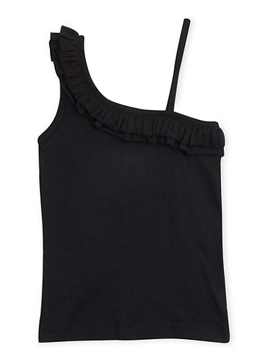 Girls 4-6x Asymmetrical Tank Top with Ruffled Neckline,BLACK,large