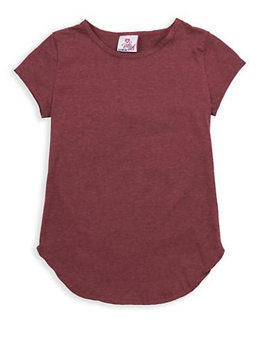 Girls 4-6x Round Hem T Shirt,WINE,large