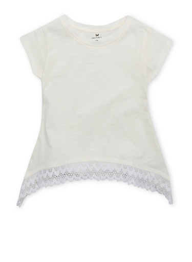 Girls 4-6x T-Shirt with Lace-Trimmed Sharkbite Hem,VANILLA,large