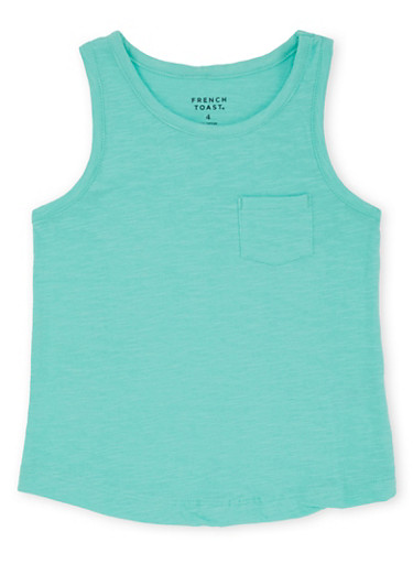 Girls 4-6x Tank Top with Pocket,MINT,large