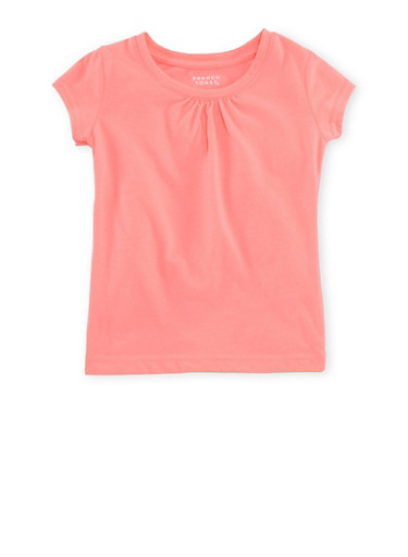 Girls 4-6x French Toast T-Shirt with Shirred Detail,ELECTRIC PINK,large