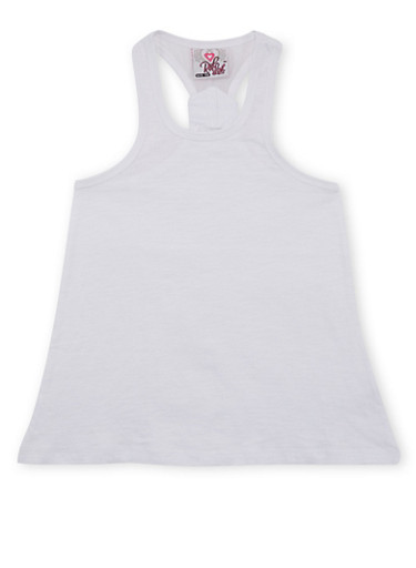 Girls 7-16 Basic Racerback Tank Top with Small Back Mesh Panel,WHITE,large