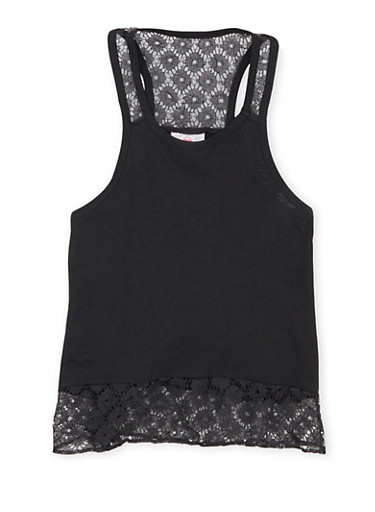 Girls 7-16 Racerback Tank Top with Lace Trim,BLACK,large