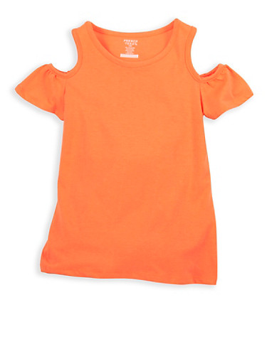 Girls 7-16 French Toast Coral Cold Shoulder Top,CORAL,large