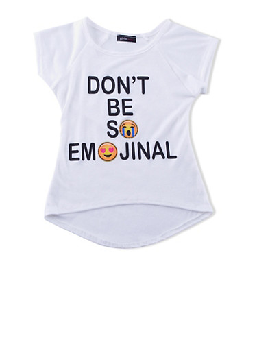 Girls 4-6x Top with Dont Be So Emojinal Graphic,IVORY,large