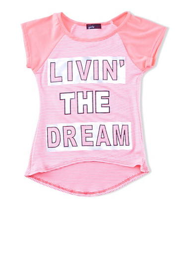 Girls 4-6x Striped Top with Livin The Dream Graphic,WHITE MULTI,large