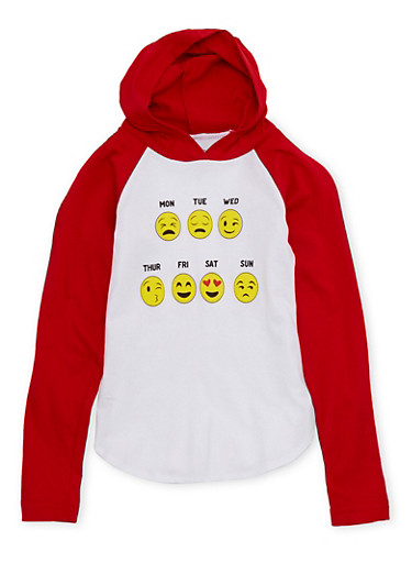 Girls 4-6x Hoodie with Days of the Week Emoji Graphic,RED,large