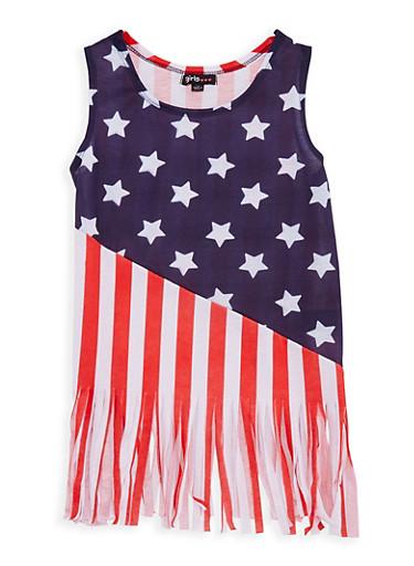 Girls 4-6x Flag Fringe Tank Top,WHITE/BLUE,large