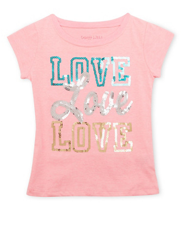 Girls 4-6x Tee with Love Graphic,PINK,large