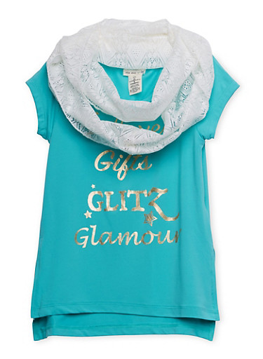 Girls 4-6x Graphic High Low Tee with Lace Infinity Scarf,JADE,large