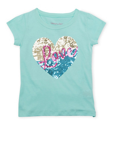 Girls 4-6x Tee with Sequined Heart and Love Graphic,MINT,large