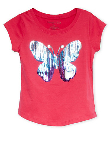 Girls 4-6x Tee with Sequined Butterfly Graphic,FUCHSIA,large