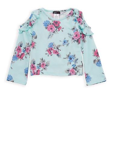 Girls 4-6x Floral Ruffled Cold Shoulder Top,MULTI COLOR,large