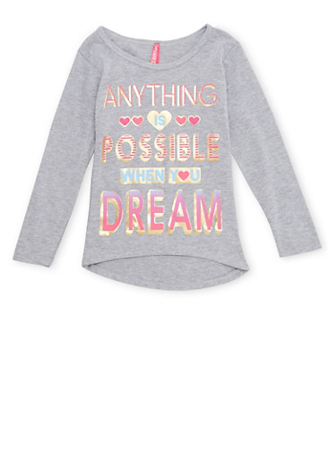 Girls 4-6x High Low Top with Anything is Possible Graphic,HEATHER,large