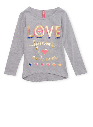 Girls 4-6x High Low Top with Love Forever Graphic,HEATHER,large