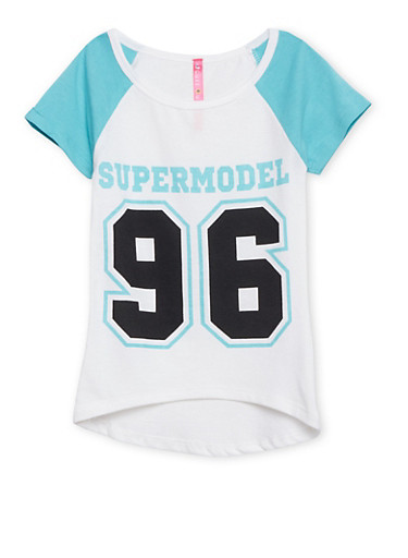 Girls 4-6x Raglan Tee with Supermodel 96 Print,AQUA,large