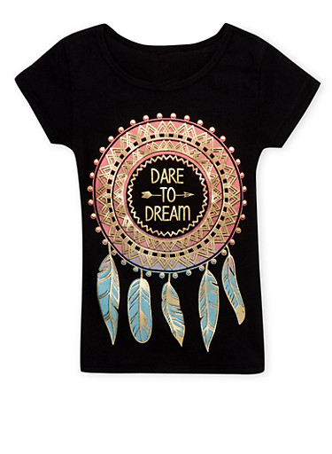 Girls 4-6x Tee with Dare to Dream Graphic,BLACK,large