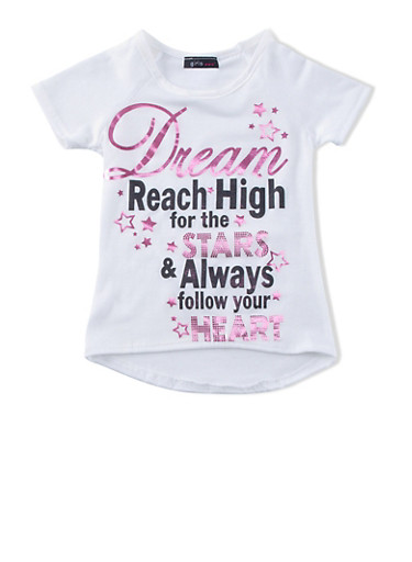 Girls 4-6x Tee with Reach High for the Stars Graphic,IVORY,large