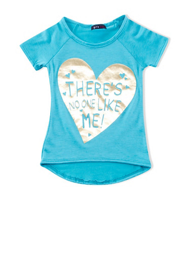 Girls 4-6x Top with There's No One Like Me Graphic,MINT,large