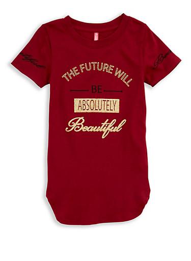 Girls 4-6x Future Graphic T Shirt,WINE,large