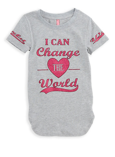 Girls 4-6x Change the World Graphic T Shirt,HEATHER,large