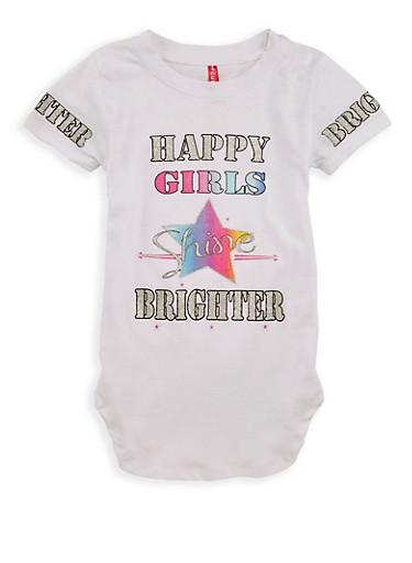 Girls 4-6x Happy Girls Graphic T Shirt,WHITE,large