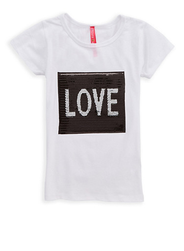 Girls 4-6x Love Sequin Graphic T Shirt,WHITE,large