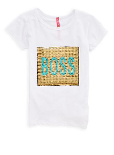 Girls 4-6x Boss Sequin Graphic T Shirt,WHITE,large