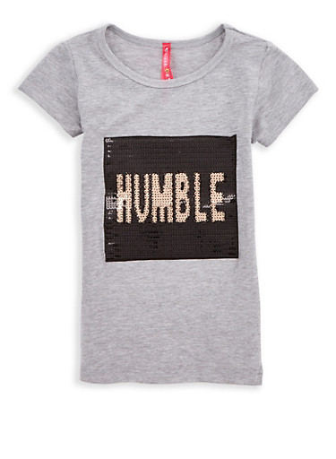 Girls 4-6x Humble Sequin Graphic T Shirt,HEATHER,large