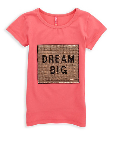 Girls 4-6x Dream Big Sequin Graphic T Shirt,CORAL,large