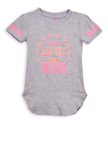 Girls 4-6x Boss Glitter Graphic T Shirt,GREY,large