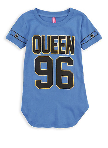 Girls 4-6x Queen Glitter Graphic Tunic T Shirt,DENIM,large