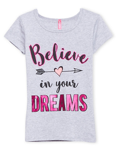 Girls 4-6x Tee with Believe in Your Dreams Graphic,HEATHER,large