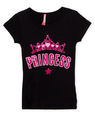 Girls 4-6x Short Sleeve Top with Princess Graphic,BLACK,large