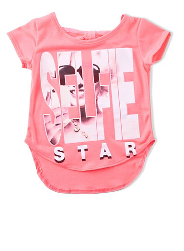 Girls 4-6x Tee with Selfie Star and Lace-Bow Back,NEON PINK,large
