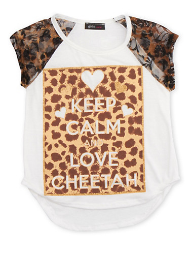 Girls 4-6x Top with Animal Sleeves and Love Cheetah Print,IVORY,large