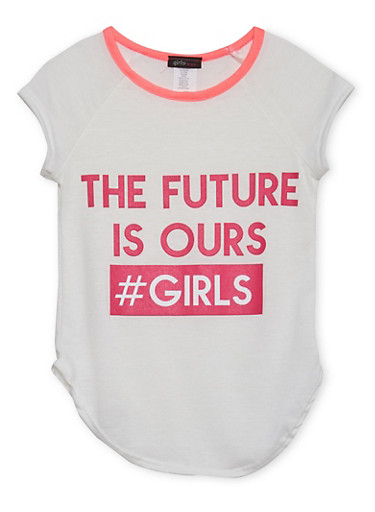 Girls 4-6x Ringer Tee with The Future Is Ours Graphic,PINK,large