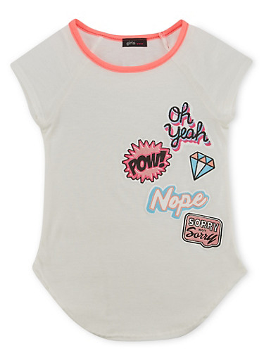 Girls 4-6x Tee with Patch Graphics,PINK,large