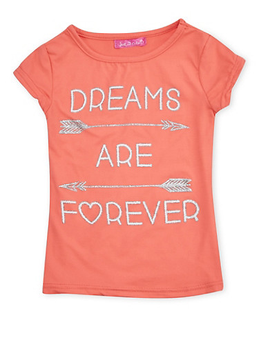 Girls 4-6x Short Sleeve Top with Dreams Graphic,CORAL,large