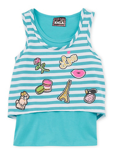 Girls 7-16 Layered Striped Graphic Tank Top,TEAL,large