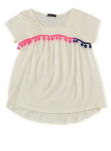 Girls 7-16 Gauze Knit Babydoll Top with Pom Pom Trim,IVORY,large